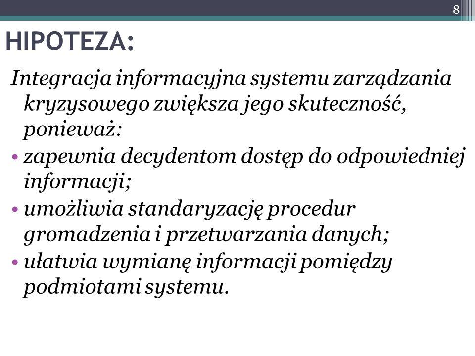 HIPOTEZA: Integracja informacyjna systemu zarządzania kryzysowego zwiększa jego skuteczność, ponieważ: