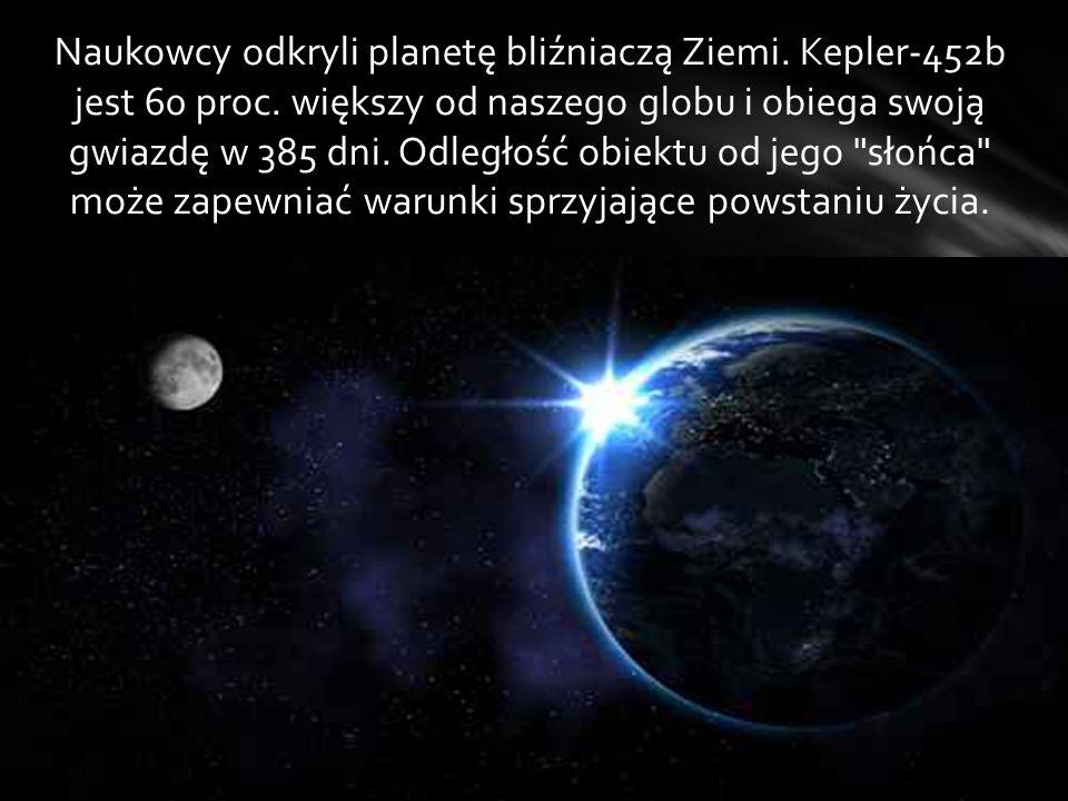Naukowcy odkryli planetę bliźniaczą Ziemi. Kepler-452b jest 60 proc
