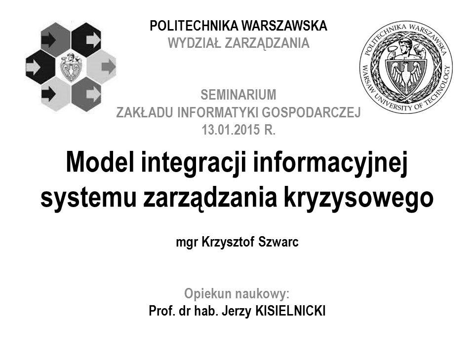 Model integracji informacyjnej systemu zarządzania kryzysowego