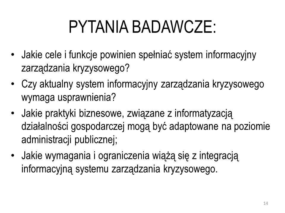 PYTANIA BADAWCZE: Jakie cele i funkcje powinien spełniać system informacyjny zarządzania kryzysowego