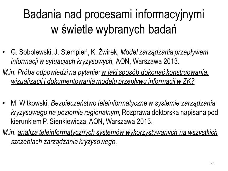Badania nad procesami informacyjnymi w świetle wybranych badań