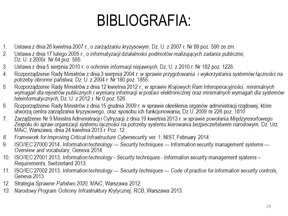 BIBLIOGRAFIA: Ustawa z dnia 26 kwietnia 2007 r., o zarządzaniu kryzysowym, Dz. U. z 2007 r. Nr 89 poz. 590 ze zm.