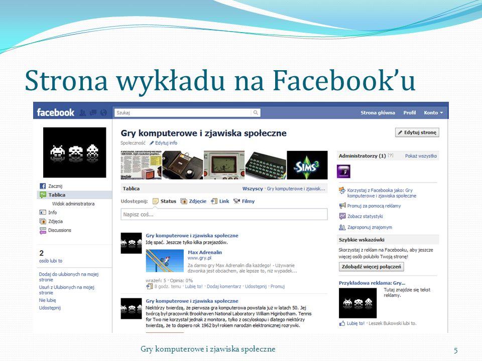Strona wykładu na Facebook'u