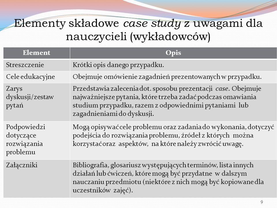 Elementy składowe case study z uwagami dla nauczycieli (wykładowców)