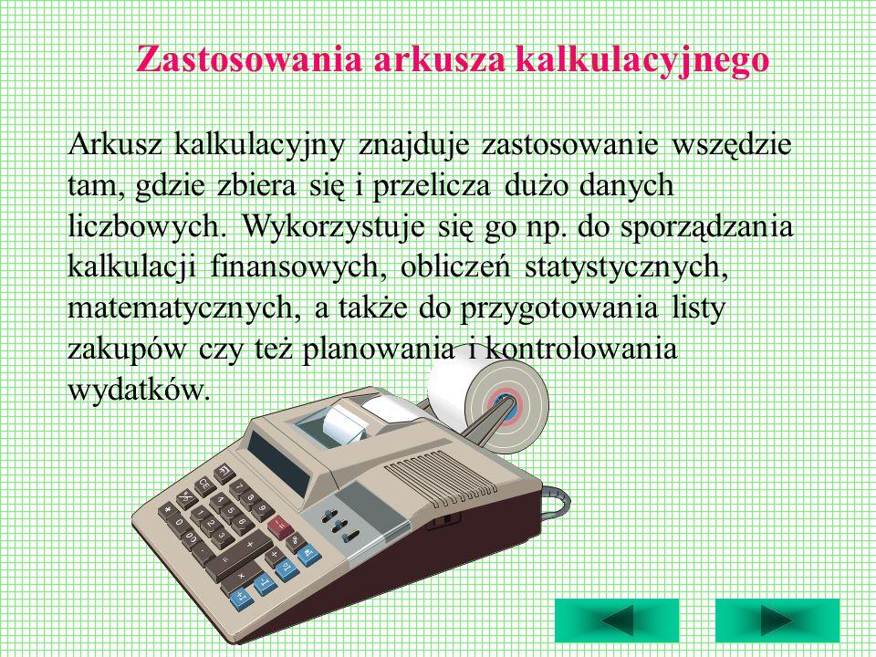 Zastosowania arkusza kalkulacyjnego