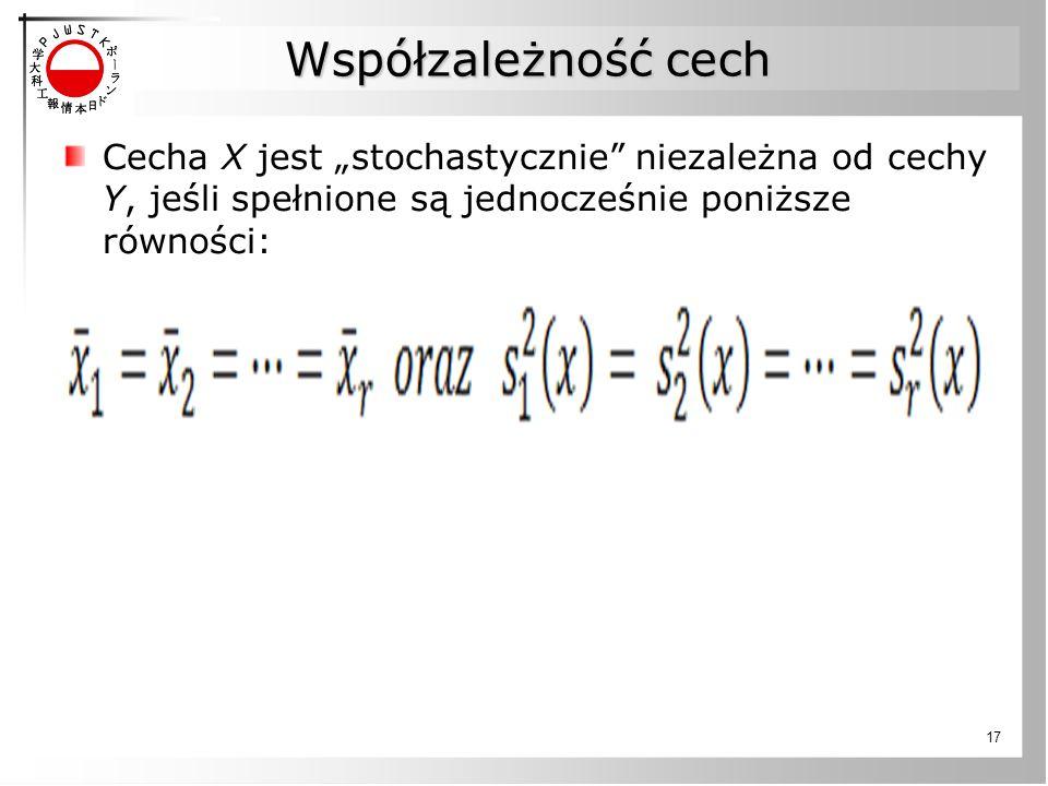 """Współzależność cech Cecha X jest """"stochastycznie niezależna od cechy Y, jeśli spełnione są jednocześnie poniższe równości:"""