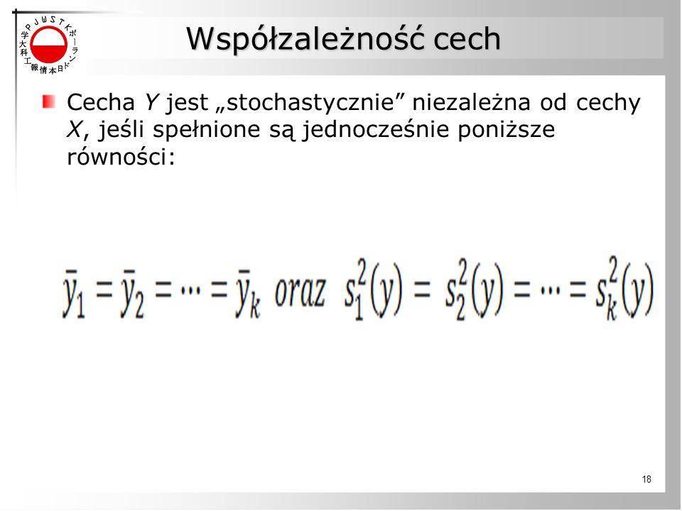 """Współzależność cech Cecha Y jest """"stochastycznie niezależna od cechy X, jeśli spełnione są jednocześnie poniższe równości:"""