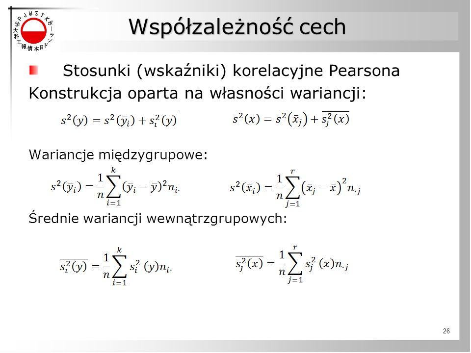 Współzależność cech Stosunki (wskaźniki) korelacyjne Pearsona