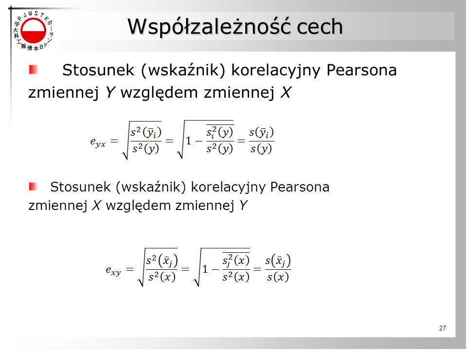 Współzależność cech Stosunek (wskaźnik) korelacyjny Pearsona