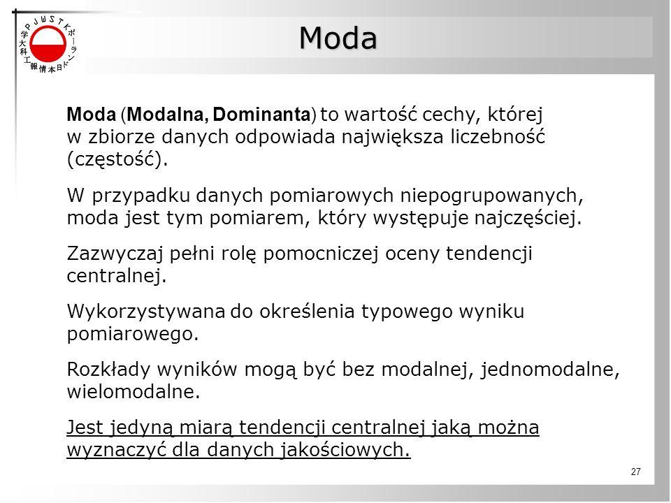Moda Moda (Modalna, Dominanta) to wartość cechy, której w zbiorze danych odpowiada największa liczebność (częstość).