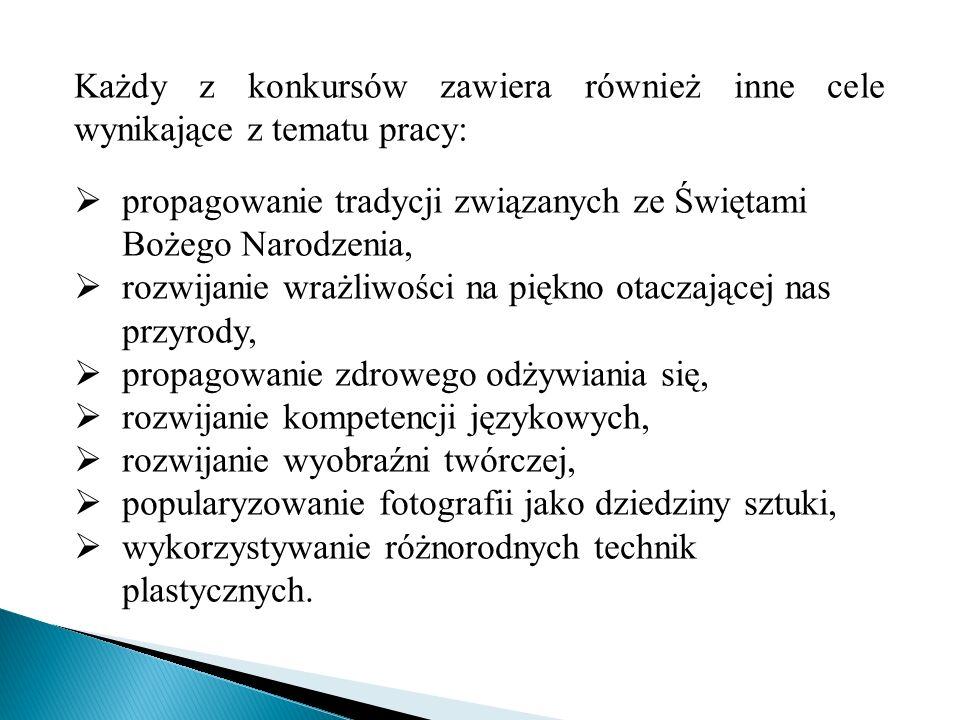 Każdy z konkursów zawiera również inne cele wynikające z tematu pracy: