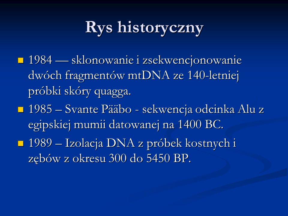 Rys historyczny 1984 –– sklonowanie i zsekwencjonowanie dwóch fragmentów mtDNA ze 140-letniej próbki skóry quagga.