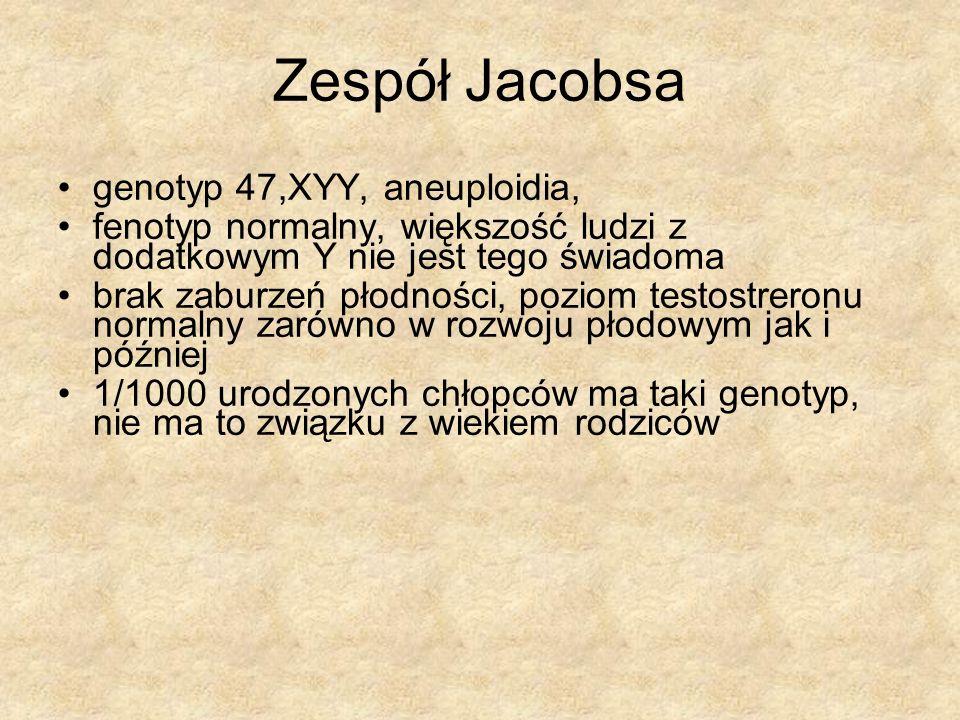Zespół Jacobsa genotyp 47,XYY, aneuploidia,