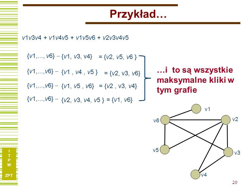 Przykład… …i to są wszystkie maksymalne kliki w tym grafie