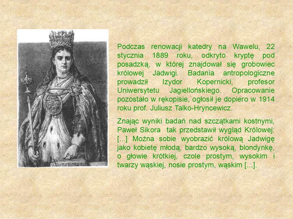 Podczas renowacji katedry na Wawelu, 22 stycznia 1889 roku, odkryto kryptę pod posadzką, w której znajdował się grobowiec królowej Jadwigi. Badania antropologiczne prowadził Izydor Kopernicki, profesor Uniwersytetu Jagiellońskiego. Opracowanie pozostało w rękopisie, ogłosił je dopiero w 1914 roku prof. Juliusz Talko-Hryncewicz.