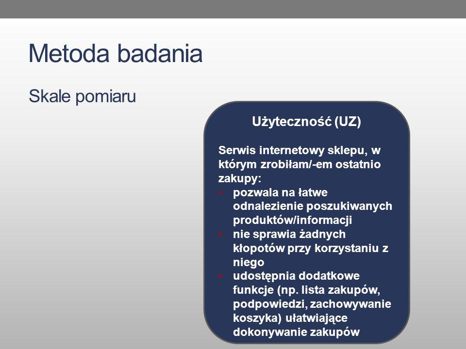 Metoda badania Skale pomiaru Użyteczność (UZ)