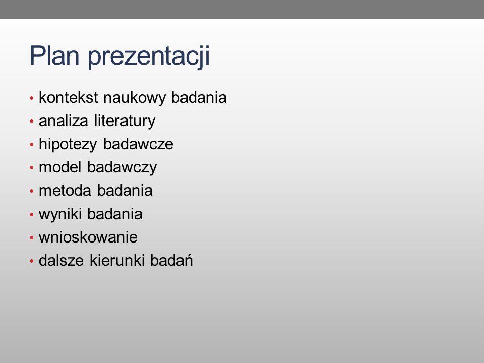 Plan prezentacji kontekst naukowy badania analiza literatury