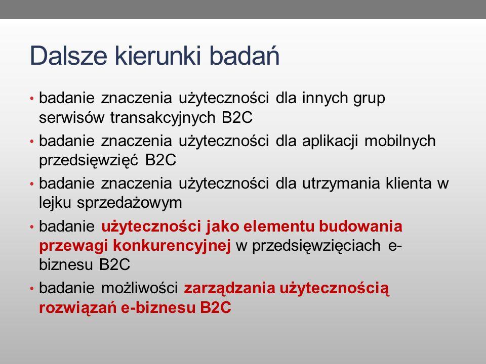Dalsze kierunki badań badanie znaczenia użyteczności dla innych grup serwisów transakcyjnych B2C.