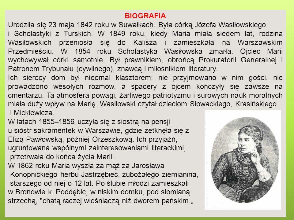 BIOGRAFIA Urodziła się 23 maja 1842 roku w Suwałkach. Była córką Józefa Wasiłowskiego.