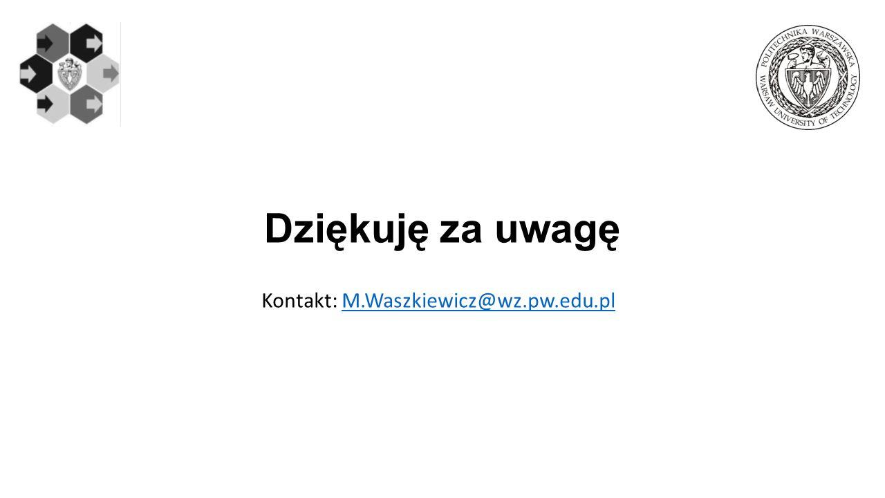 Kontakt: M.Waszkiewicz@wz.pw.edu.pl