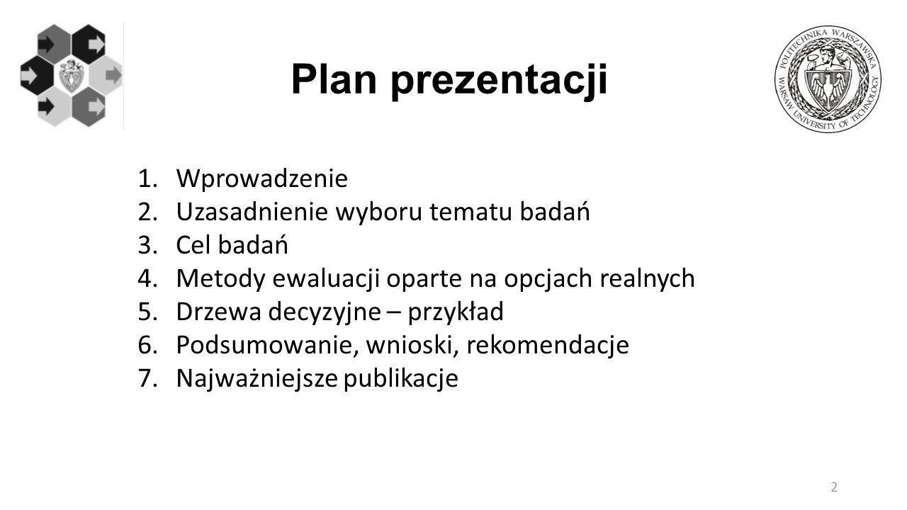 Plan prezentacji Wprowadzenie Uzasadnienie wyboru tematu badań
