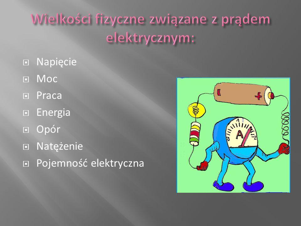 Wielkości fizyczne związane z prądem elektrycznym: