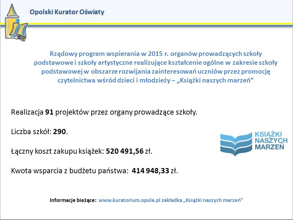 Realizacja 91 projektów przez organy prowadzące szkoły.