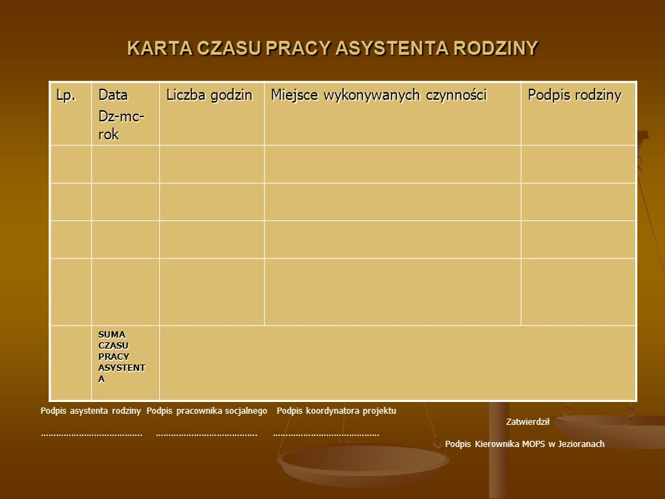 KARTA CZASU PRACY ASYSTENTA RODZINY