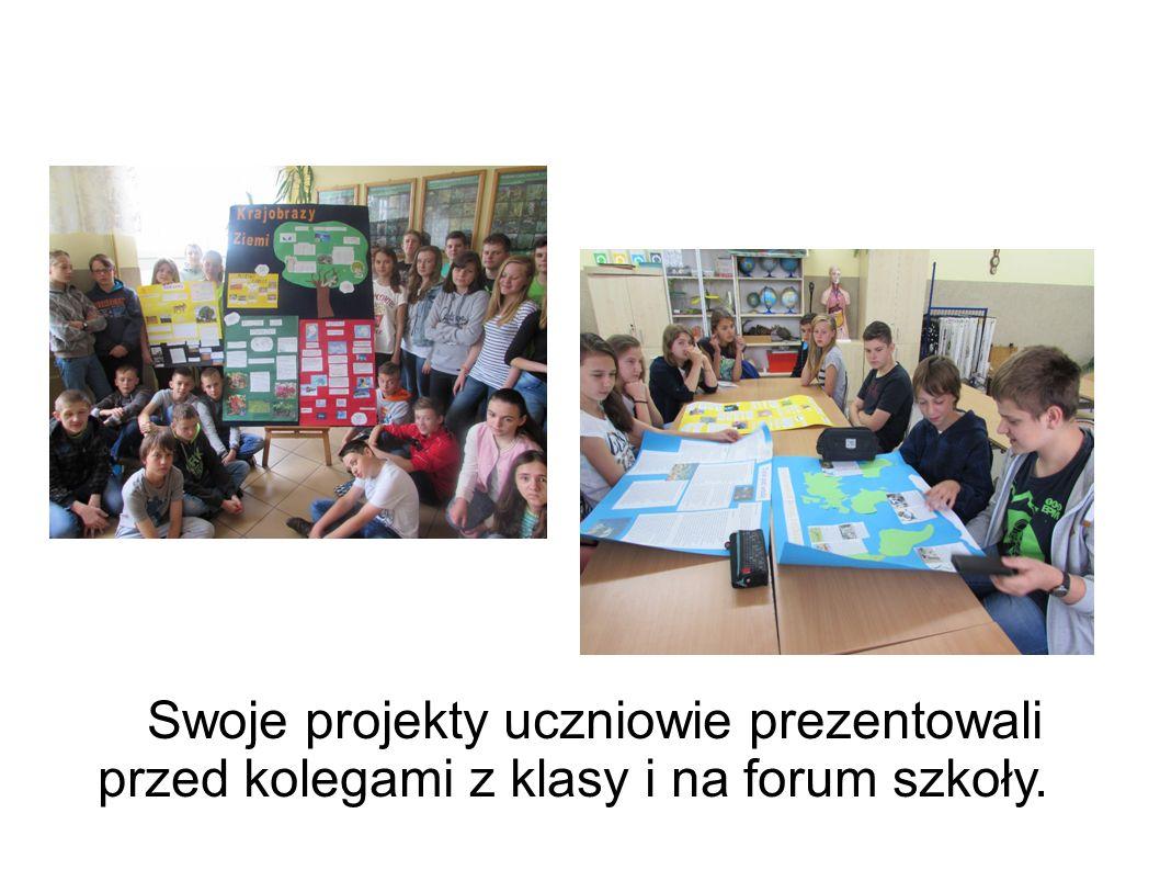 Swoje projekty uczniowie prezentowali przed kolegami z klasy i na forum szkoły.
