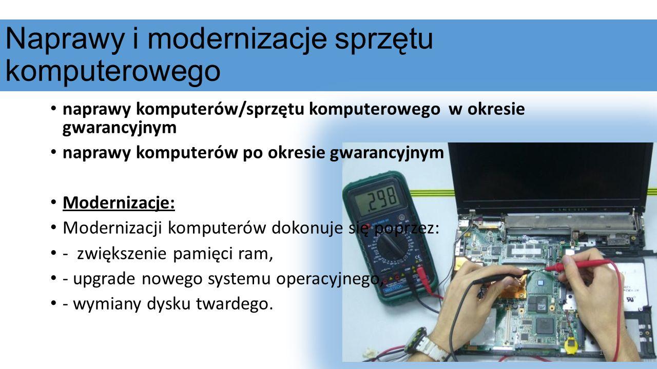 Naprawy i modernizacje sprzętu komputerowego