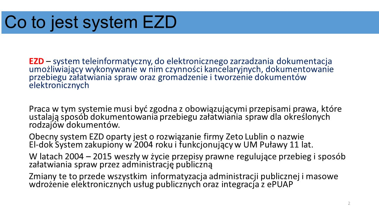 Co to jest system EZD