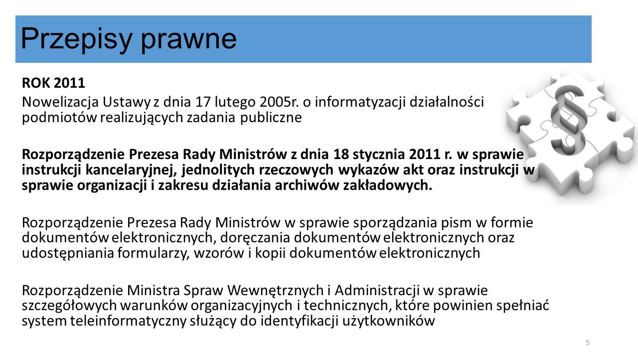 Przepisy prawne ROK 2011. Nowelizacja Ustawy z dnia 17 lutego 2005r. o informatyzacji działalności podmiotów realizujących zadania publiczne.