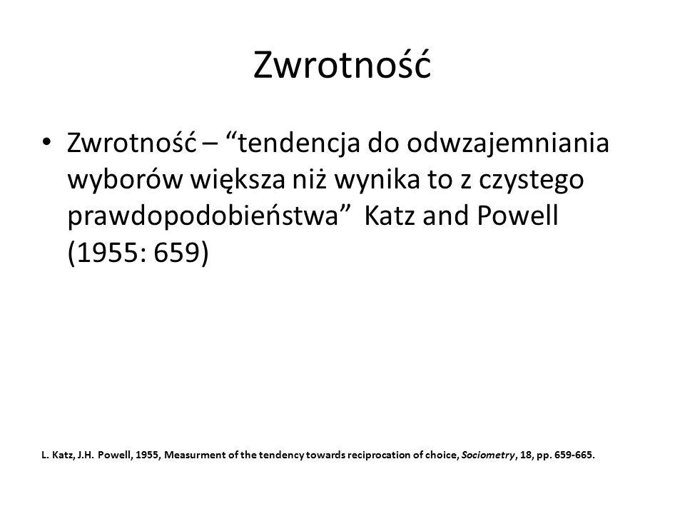 Zwrotność Zwrotność – tendencja do odwzajemniania wyborów większa niż wynika to z czystego prawdopodobieństwa Katz and Powell (1955: 659)