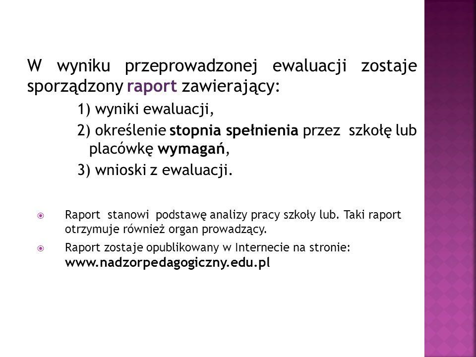 W wyniku przeprowadzonej ewaluacji zostaje sporządzony raport zawierający: