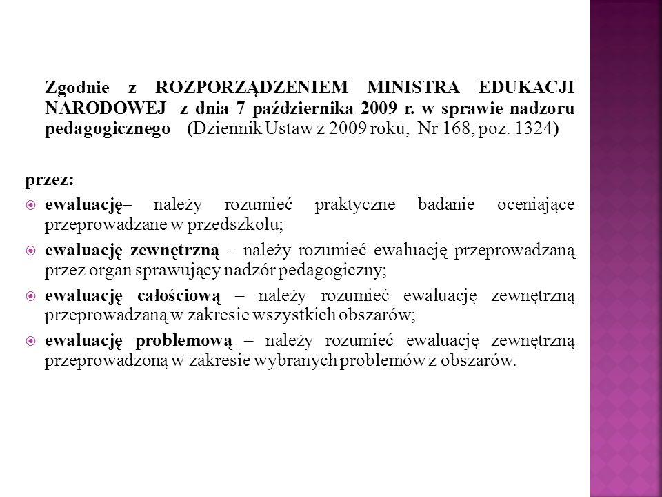 Zgodnie z ROZPORZĄDZENIEM MINISTRA EDUKACJI NARODOWEJ z dnia 7 października 2009 r. w sprawie nadzoru pedagogicznego (Dziennik Ustaw z 2009 roku, Nr 168, poz. 1324)