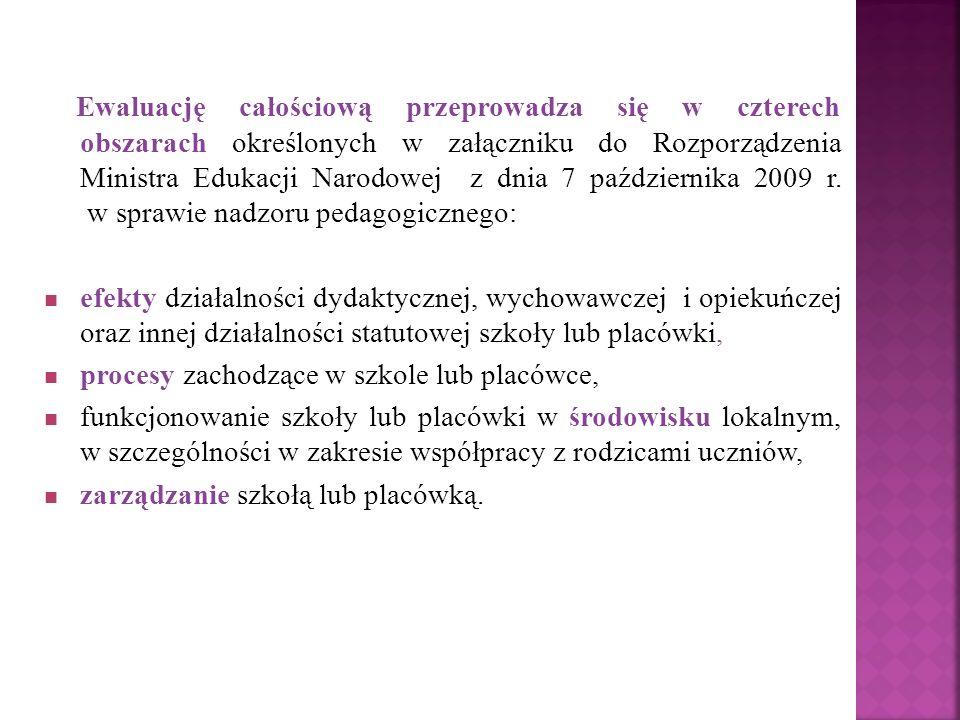 Ewaluację całościową przeprowadza się w czterech obszarach określonych w załączniku do Rozporządzenia Ministra Edukacji Narodowej z dnia 7 października 2009 r. w sprawie nadzoru pedagogicznego: