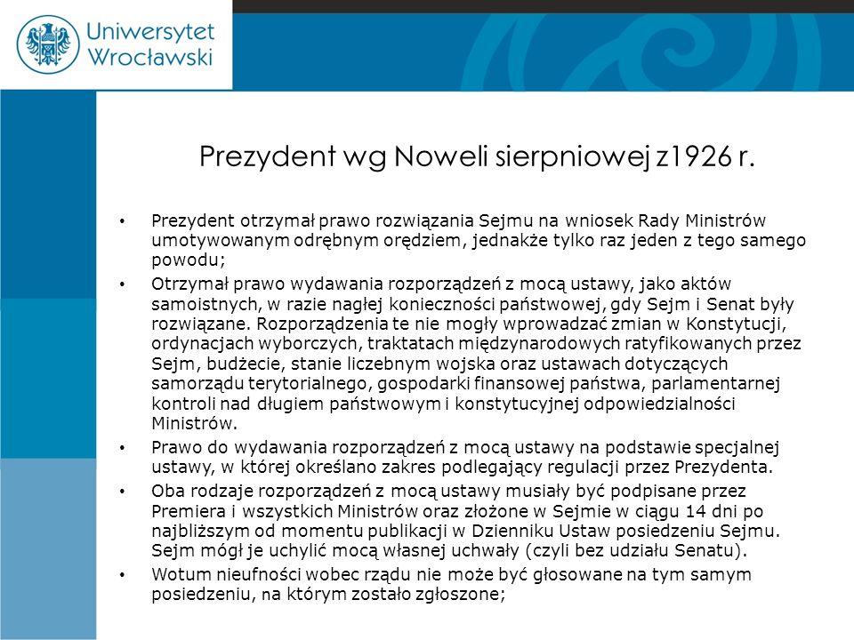 Prezydent wg Noweli sierpniowej z1926 r.