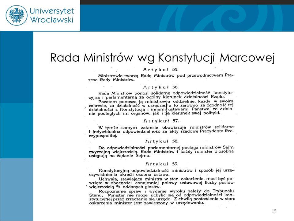 Rada Ministrów wg Konstytucji Marcowej