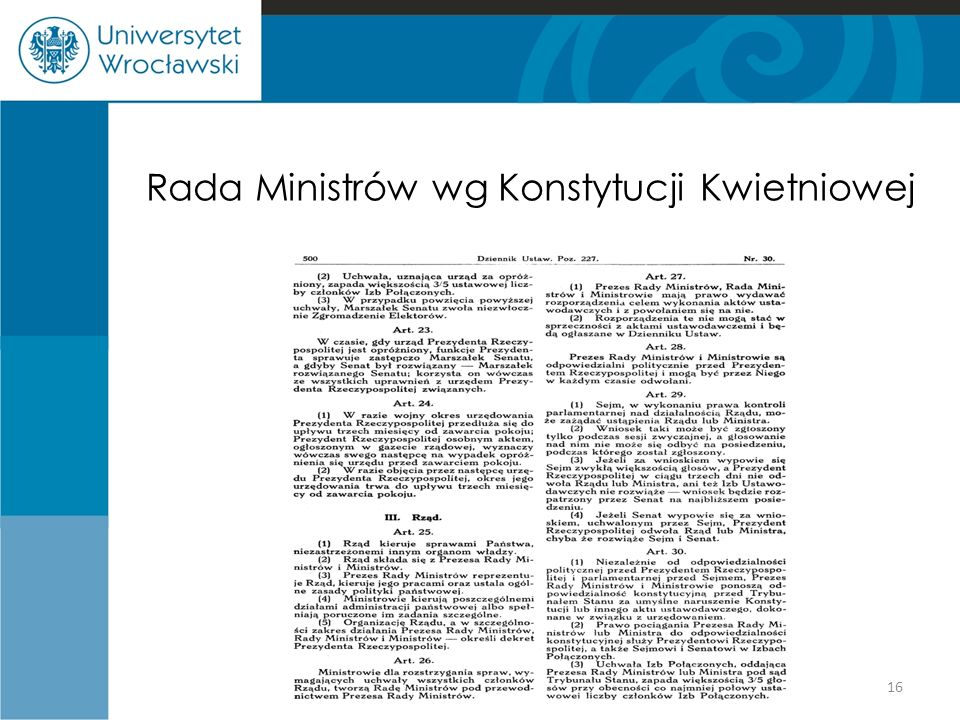 Rada Ministrów wg Konstytucji Kwietniowej