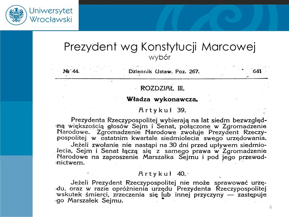 Prezydent wg Konstytucji Marcowej wybór