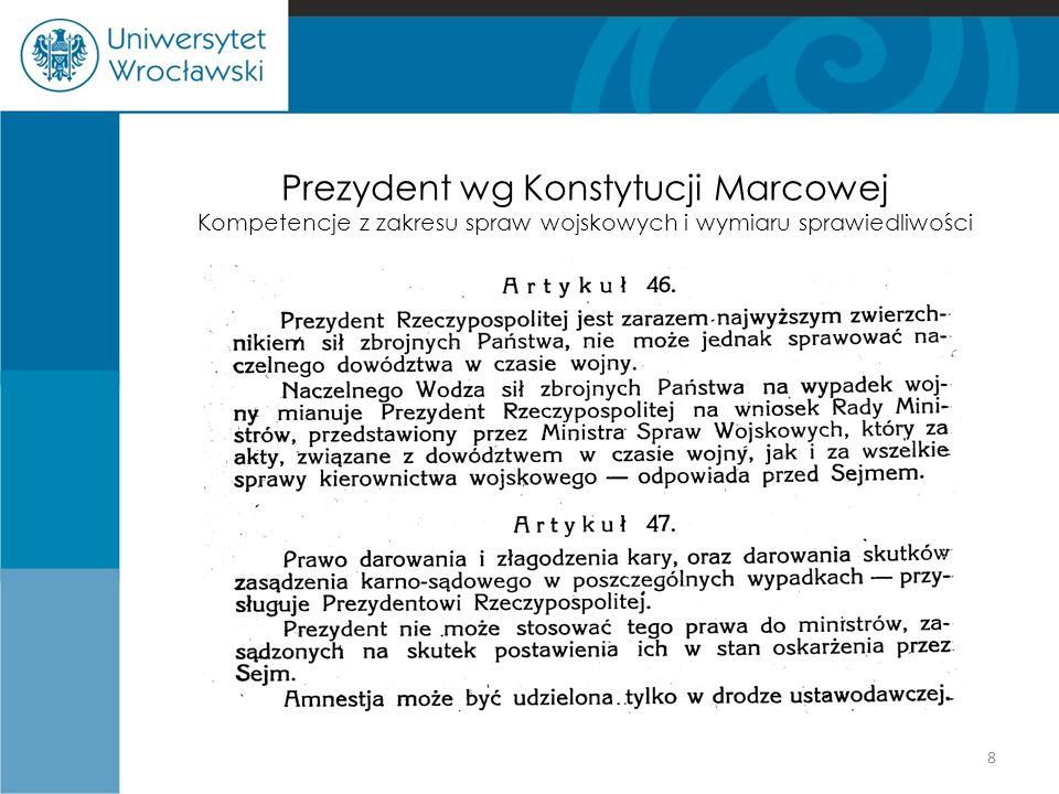 Prezydent wg Konstytucji Marcowej Kompetencje z zakresu spraw wojskowych i wymiaru sprawiedliwości