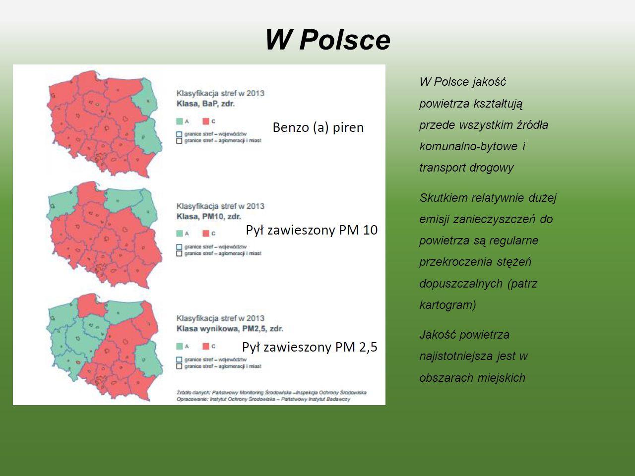 W Polsce W Polsce jakość powietrza kształtują przede wszystkim źródła komunalno-bytowe i transport drogowy.