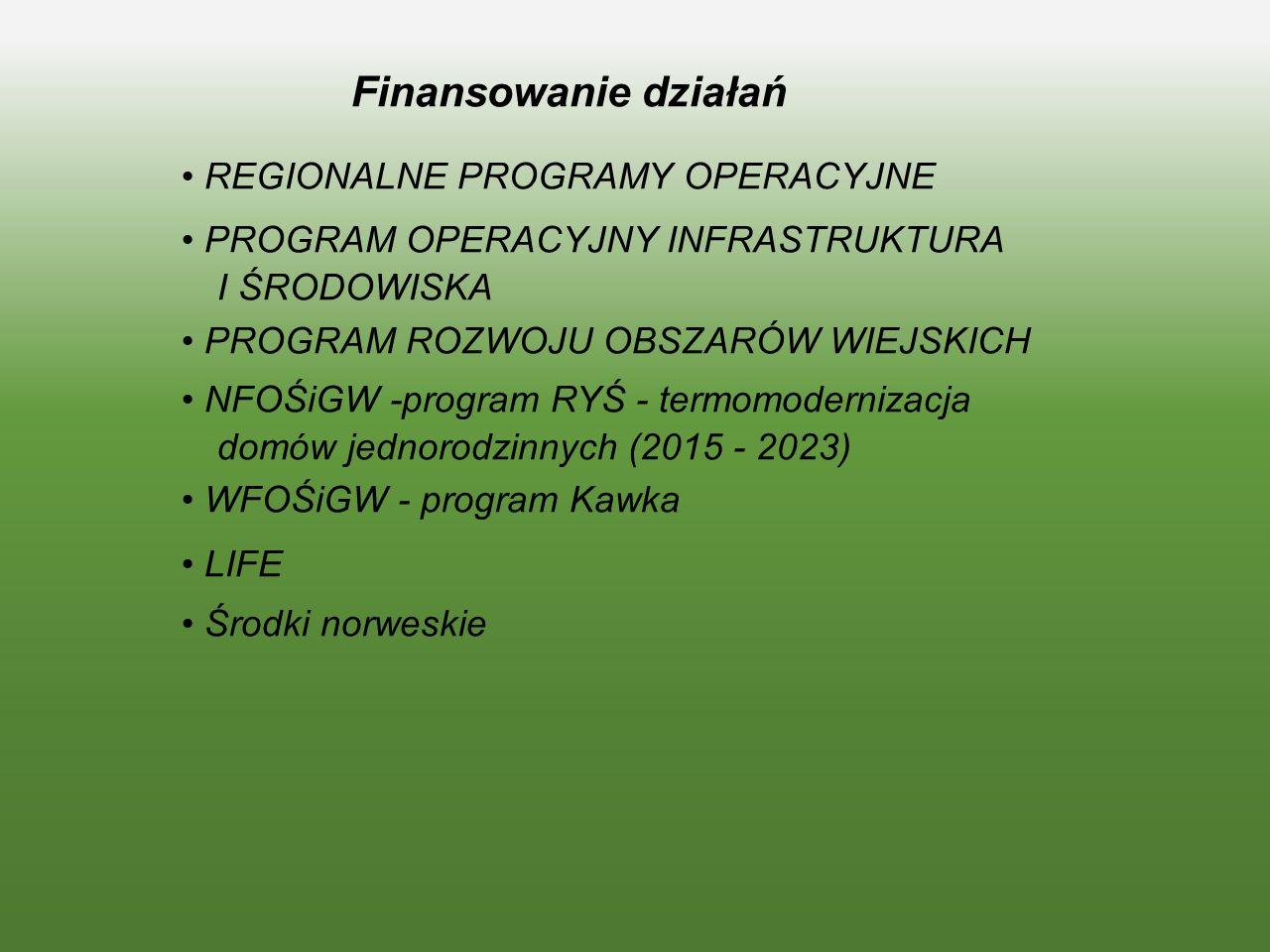 Finansowanie działań • REGIONALNE PROGRAMY OPERACYJNE