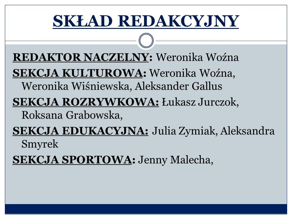 SKŁAD REDAKCYJNY REDAKTOR NACZELNY: Weronika Woźna