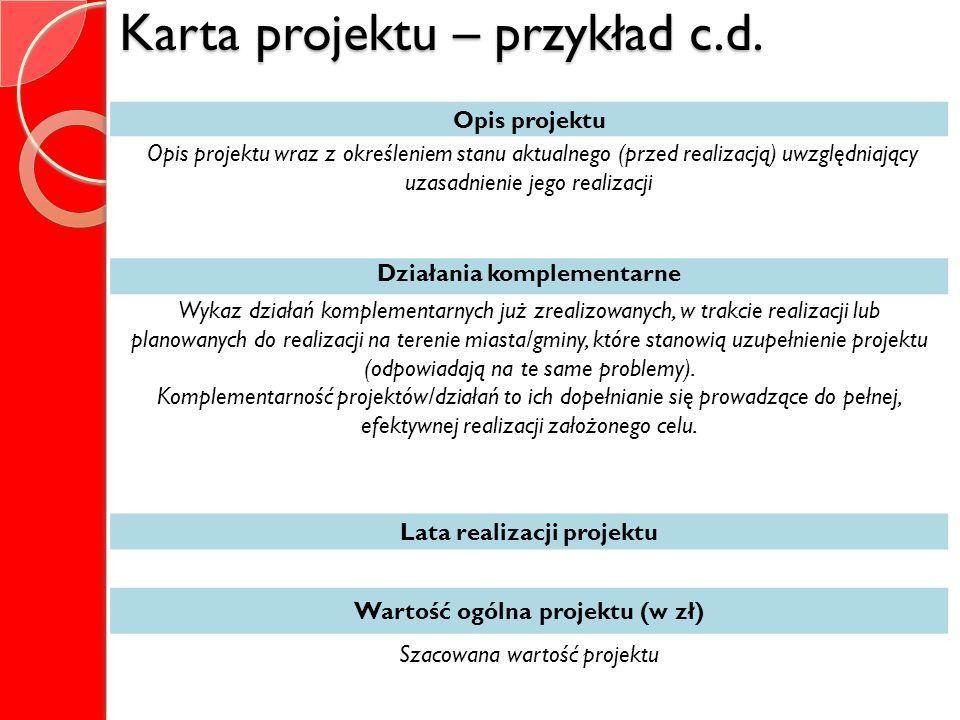 Karta projektu – przykład c.d.