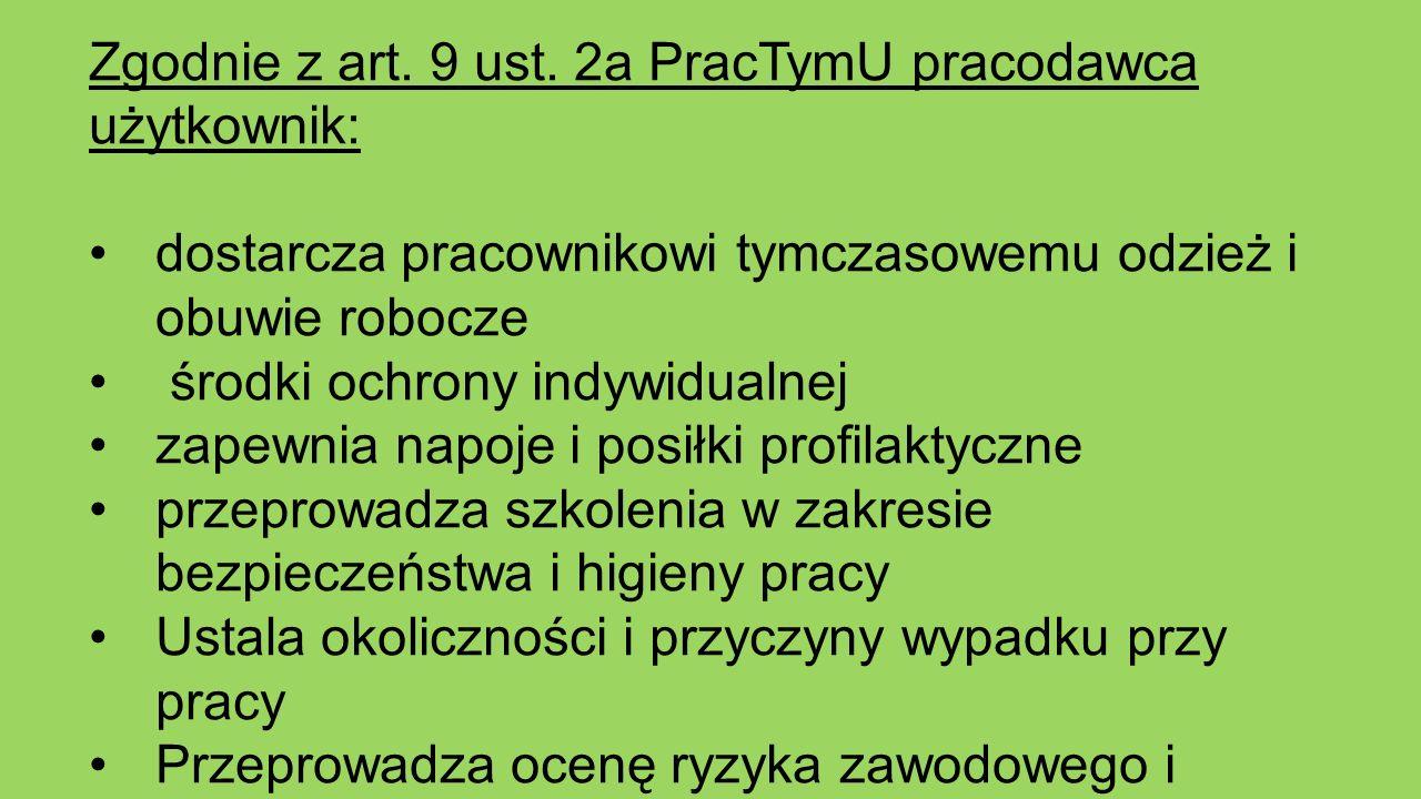 Zgodnie z art. 9 ust. 2a PracTymU pracodawca użytkownik: