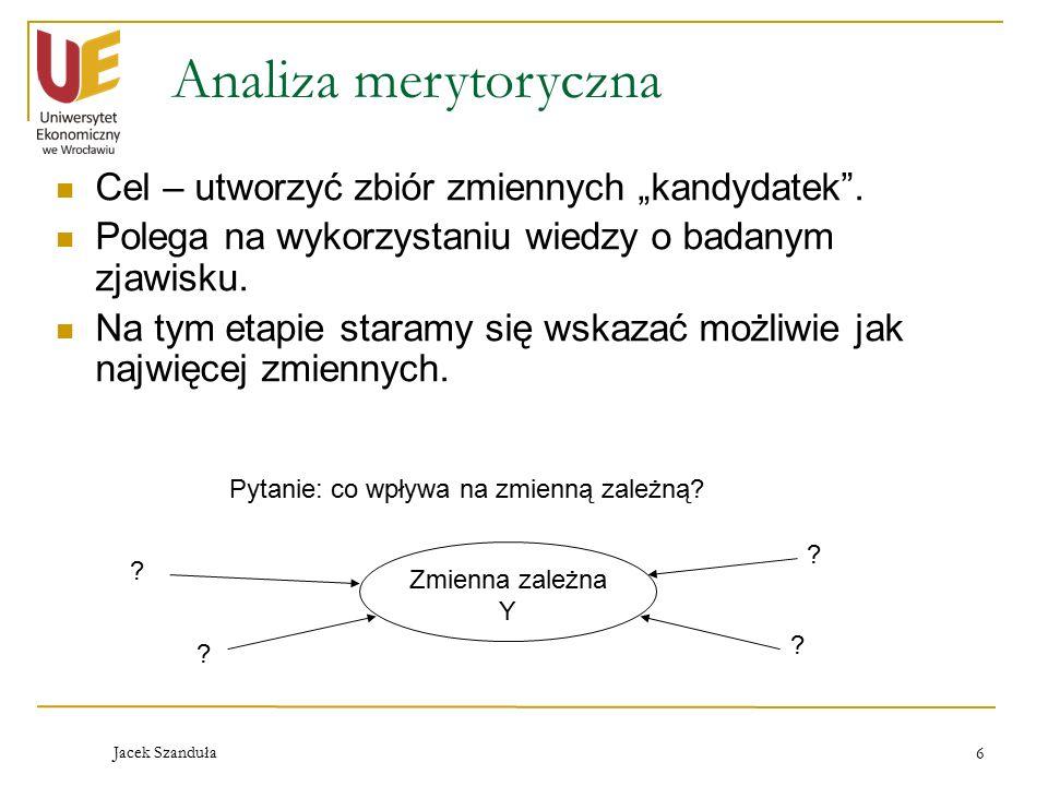 """Analiza merytoryczna Cel – utworzyć zbiór zmiennych """"kandydatek ."""