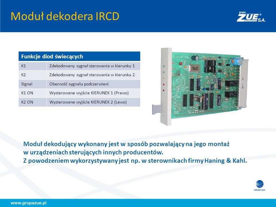 Moduł dekodera IRCD Funkcje diod świecących. K1. Zdekodowany sygnał sterowania w kierunku 1. K2.