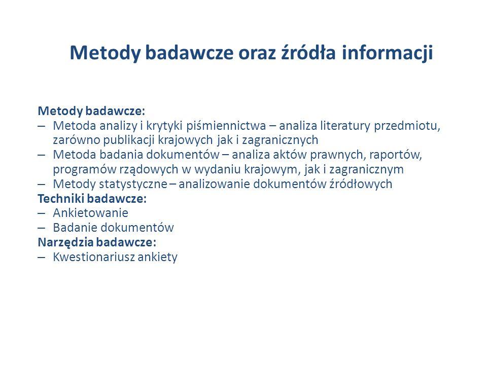 Metody badawcze oraz źródła informacji