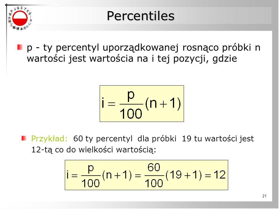 Percentiles p - ty percentyl uporządkowanej rosnąco próbki n wartości jest wartościa na i tej pozycji, gdzie.